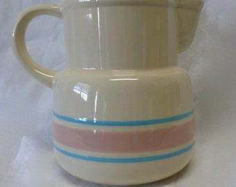 Vintage McCoy Pottery Blue & Pink Stripe Pitcher Stone Craft Collection  no. 132