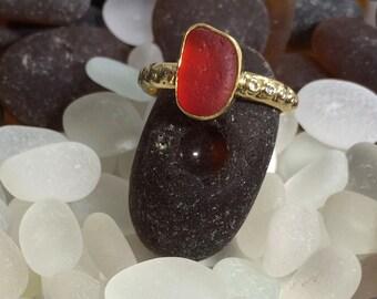 18k Gold, Diamonds, Red Sea Glass Ring
