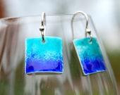 Turquoise Blue Enamel Earrings Sterling Silver