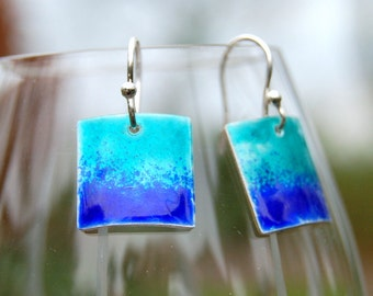 Turquoise Blue Enamel Earrings Sterling Silver