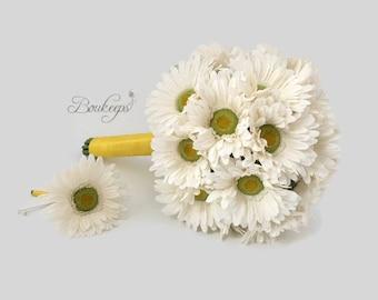 CHOOSE RIBBON COLOR - Daisy Bouquet, White Daisy Bouquet, Silk Daisy Bouquet, Daisy Bridesmaid Bouquet, Daisy Wedding, White Bouquet, Bridal