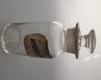Antique APOTHECARY Bottle HAND BLOWN Glass Old Drug Store Bottle Ground Stopper