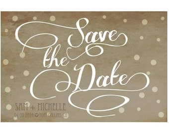 Polka dot Rustic Save the Date with Script Font and photo
