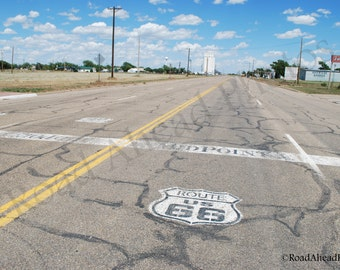 5 x 7 matted photograph Route 66, Adrian Texas, Midpoint