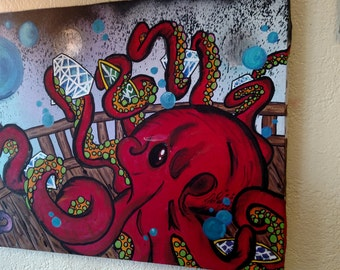 Octopus sunken ship custom painting