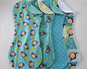 Aqua Monkey Burp Cloth Set in Terry and Flannel