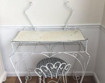 Vintage white wrought iron vanity set with chair / white vintage vanity / plant stand / vanity chair / old vanity set /
