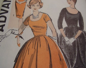 Vintage 1950's, 60's Advance 9661 Dress and Overskirt Sewing Pattern, Size 12, Bust 32