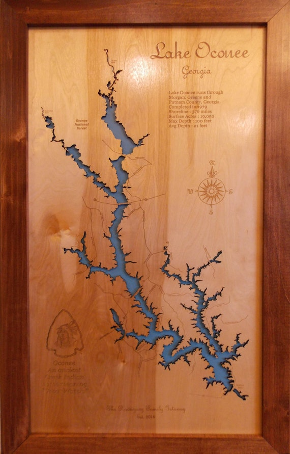Wood Laser Cut Map Of Lake Oconee Ga Topographical Engraved