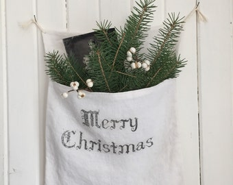 White Linen Christmas Pocket Pouch
