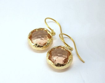 Gold and Peach Hammered Earrings. Wedding, Bride, BFF
