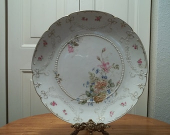Antique Turn of the Century KPM Plate Made in Germany Floral Roses
