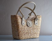 15% off Handwoven picnic tote, picnic basket, market tote, beach bag