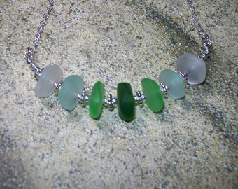 Ombre green sea glass bar necklace, free shipping within US