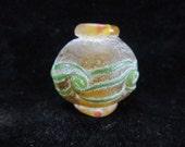 Yellow Lantern Large rustic Dzi Vintage Peking China  Lampwork Carved Focal Bead