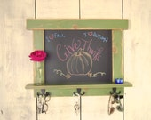 Kitchen Chalkboard-Craftsman Style Green Country Chic with shelf and hooks 12 Colors to choose from -MADE TO ORDER