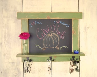 Kitchen Chalkboard-Craftsman Style - Green Country Chic with shelf and hooks 16 Colors to choose from -MADE TO ORDER