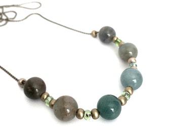 Blue Green Quartz Sliding Stone Necklace - Ball Chain