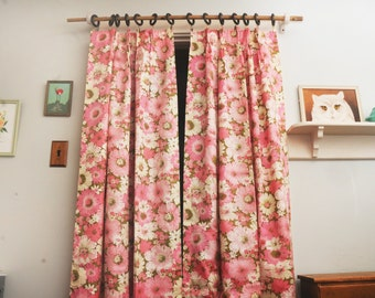 PAIR Roses Curtain Panels JCPenney Pinch Pleats Pink