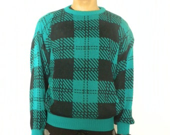 Vtg 80s Club Europe Black Green Plaid Windowpane Sweater Crew Neck Pullover Medium