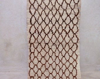 """How Wild It Was to LET IT BE 7'2"""" x 2'8"""" Boucherouite Rug. Tapis Moroccan. Mid Century Modern Danish Design Compliment. FA15-109"""