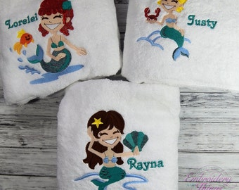 Personalized Bath Towels for Kids, Beach towels, Mermaid towels, mermaid beach towels, Kids Beach towels, Kids towels, Personalized gifts
