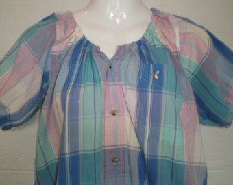 Peasant Blouse, upcycled from a men's shirt, 46 inch, Large, pastel plaid