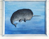 Three Dimensional Relief Narwhal Painting