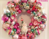 "Chic Pink Cream Vintage Ornament Wreath ~Large 20"" , Shiny Brite, Vintage Spaghetti trim Napco Santa OOAK!"