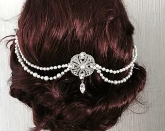 Pearl Hair chain- Bridal headpiece - Gatsby headpiece  - 1920s art deco style - Wedding headdress - Gatsby headdress - Bridal hair - 1920s