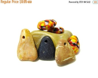 SALE Corn Niblets/Candy Corn Shaped  Stones/Lake Michigan Stone Beads/Glass Halloween Color Beads/Hand Drilled Beach Stone Beads/Bead Supply