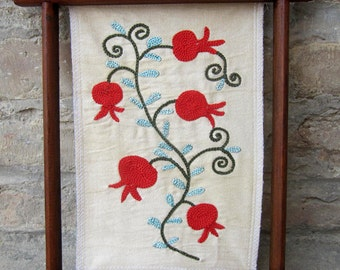 Small Framed Uzbek Suzani Hand Embroidery