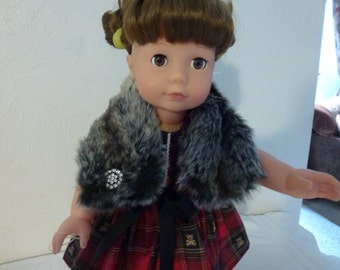 """18"""" Doll Faux Fur Stole Fits American Girl, Madame Alexander and Gotz and Our Generation Dolls"""