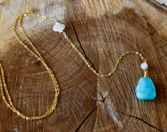 """Blue jade and opalite """"Y"""" necklace"""