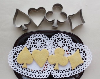 SALE! 4 pcs of Small Cookie Cutter Set - Card Suits - Hearts, Diamonds, Clubs, & Spades