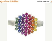 Valentines Day Sale Multicolor Rainbow Sapphire Engagement Wedding Ring 925 Sterling Silver  : sku 1584-925