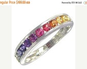 Valentines Day Sale Multicolor Rainbow Sapphire Half Eternity Band Ring 925 Sterling Silver : sku 663-925