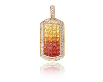 Multicolor Sunset Sapphire & Diamond Pendant 18K Gold (2.70ct tw) SKU: 13104