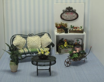 Gaël Miniature shabby chic complete set of garden-  garden cabinet   for French dollhouse in 1:12 scale