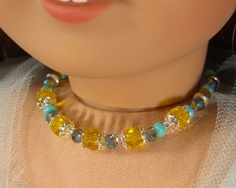 YELLOW, TURQUOISE, Blue and Silver Glass Beads NECKLACE for American Girl Dolls for  Lanie, Kanani, Lea, Easter, Spring