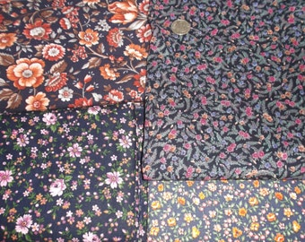 Dark Blues and Blacks Floral FABRIC STACK For Charm Quilts, Samplers, Crafts. - 1  & 2/3 pounds of quality cotton fabric