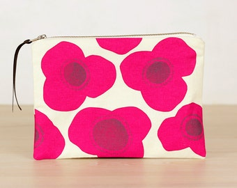 Poppies pouch in fuchsia - screen printed and handmade