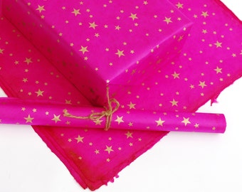 Lokta Wrapping Paper, Gold Stars on Hand made and Fair Trade Paper, Cerise
