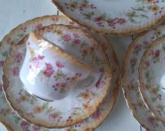 Vintage Shabby Chic Sandwich/Tea for Two Set -2 x Trios + Large Sandwich/Cake Plate