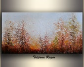Original Art Oil Painting, Abstract landscape painting, Palette knife, Sunset Painting, Nature Art Painting, Forest Painting by Tatjana