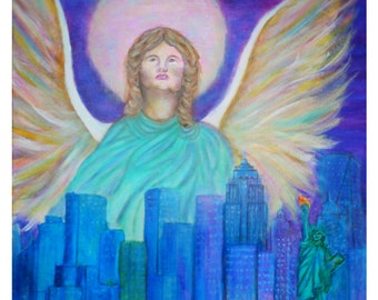 New York City Earth Angel Original 8 x 10 Print, Statue of  Liberty, Home Decor, Wall Art, NYC skyline, Blue, Guardian Angel, Freedom