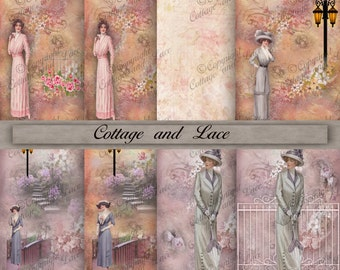 Digital Vintage Women, Background Paper, Vintage Invitations, Scrapbook Paper, 8.5 x 11 P 75AS