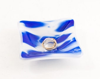 Glass Ring Holder, Small Jewelry Dish, Cobalt Blue and White, Fused Glass, Bath Accessories, Ring Saver, Condiment Bowl, Trinket Tray