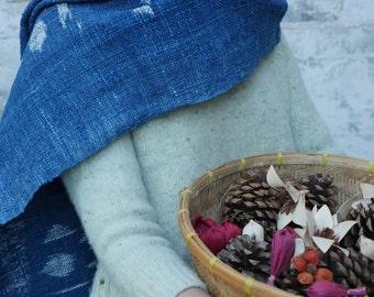 Ikat organic Indigo handwoven shawl/scarf : triangle ikat