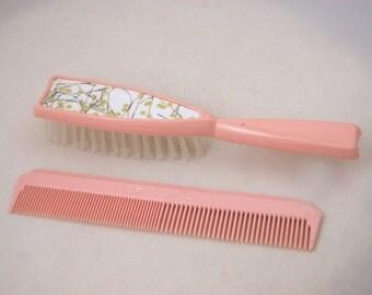 atomaire haarborstel van de jaren 1950 en kam - jaren 1950 roze haarborstel / / 50s Confetti / / rijk kunststof USA